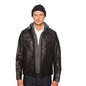 Levi's Faux Leather Trucker Lined Jersey Hood